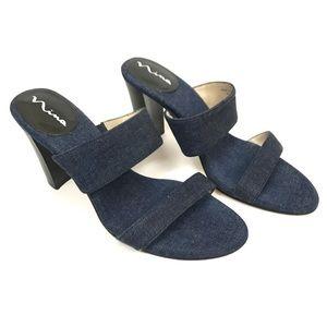 Nina | Denim slip on mule sandal heels